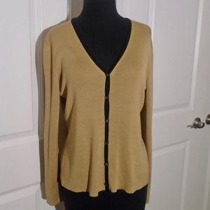 Ann Taylor LOFT Silk Knit V-Neck Cardigan M